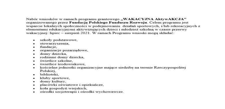 """Nabór wniosków w ramach programu grantowego """"WAKACYJNA AktywAKCJA"""""""