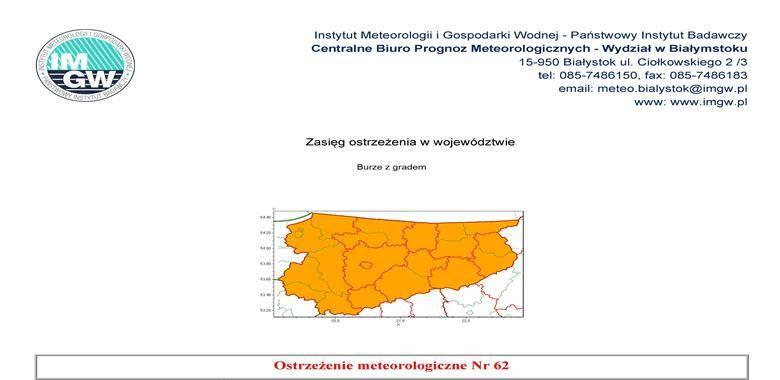 Ostrzeżenie meteorologiczne Nr 62