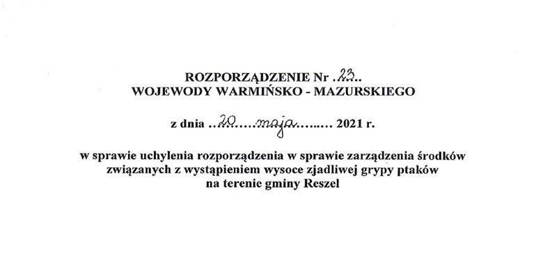 Rozporządzenie Nr 23 Wojewody Warmińsko-Mazurskiego z dnia 20 maja 2021 r.