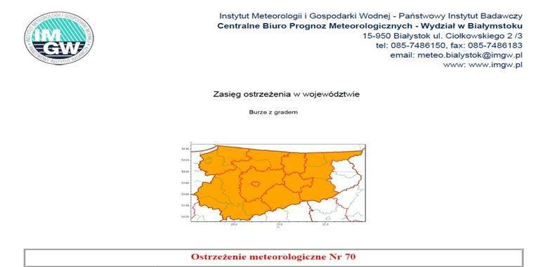 Ostrzeżenie meteorologiczne Nr 70