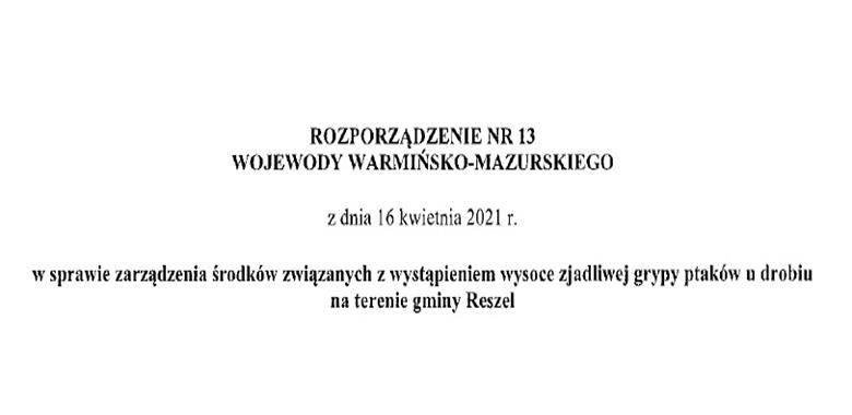 Rozporządzenie Nr 13 Wojewody Warmińsko-Mazurskiego z dnia 16 kwietnia 2021 r.